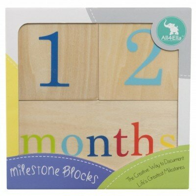 Unisex Baby Gifts - All4Ella Milestone Blocks Wood