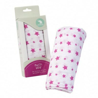 Baby Blankets - All4Ella Muslin Wrap Pink Stars