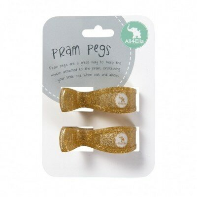 All4Ella Pram Pegs - Gold Glitter