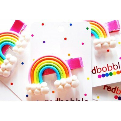 Girls Accessories - Red Bobble Clay Rainbow Clip