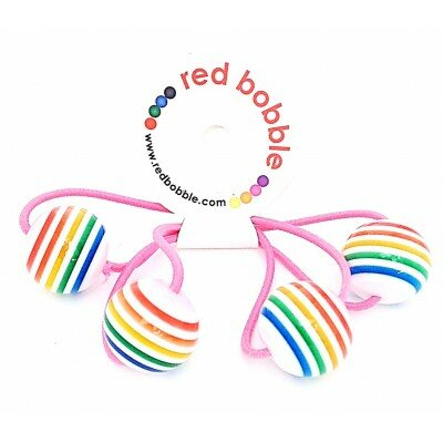 Girls Accessories - Red Bobble Rainbow Ball Ties