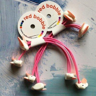 Red Bobble Mini Bunny Ties