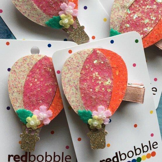 Red Bobble Glitter Balloon Clip