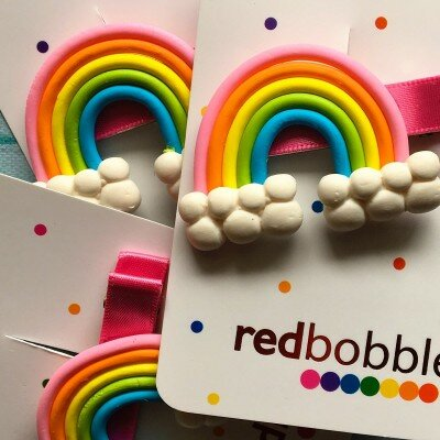 Red Bobble Clay Rainbow Clip