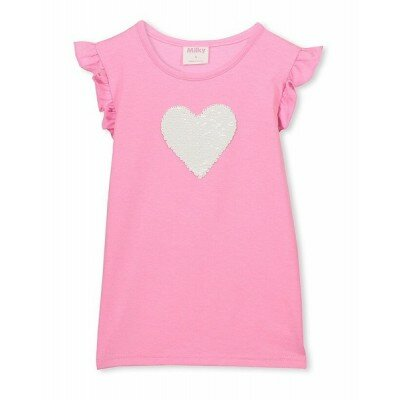 Milky Sequin Heart Tee - Girls