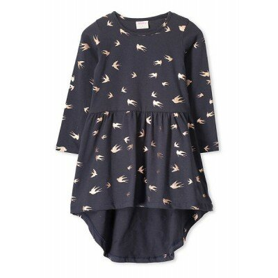 Milky Foil Birds Dress
